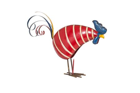 La Hacienda Stripy metal rooster ornament