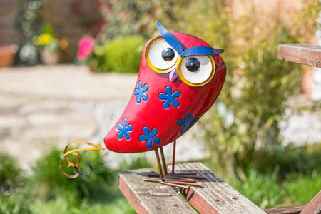 La Hacienda Flower design metal owl ornament