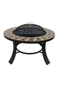 Mosaic firepit table with cooking grill