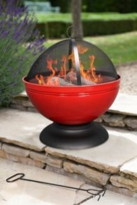 La Hacienda Globe enamelled red firepit with grill