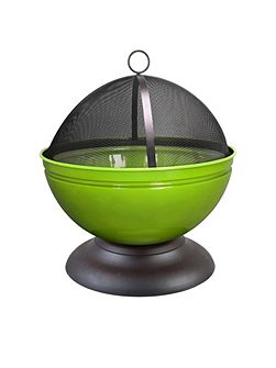 Globe enamelled lime firepit with grill