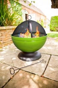 La Hacienda Globe enamelled lime firepit with grill