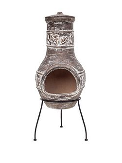Leaf design clay chimenea