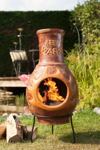 La Hacienda Keep Warm Copper Clay Chimenea