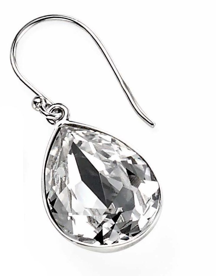Teardrop clear crystal drop earrings