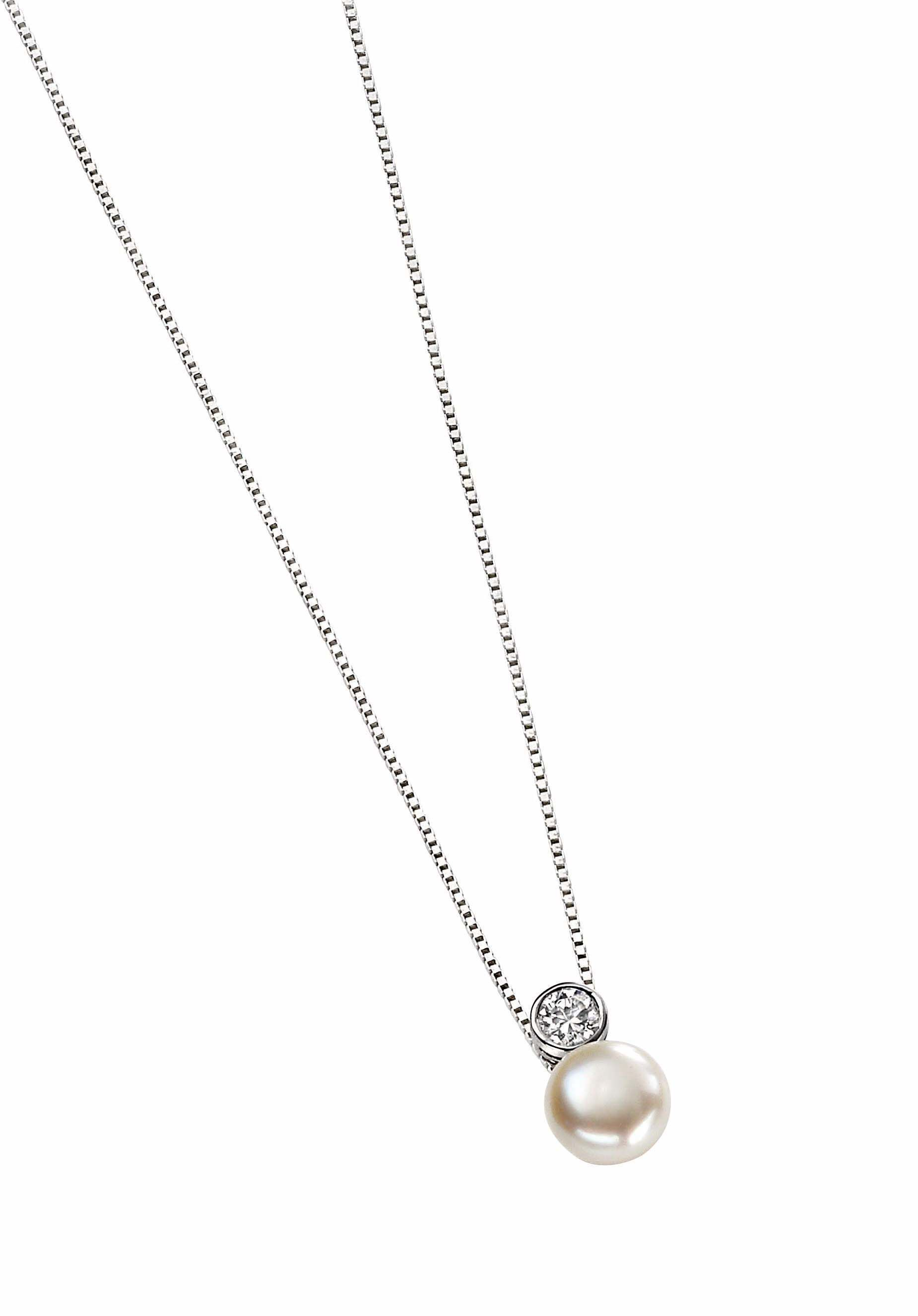 Cz and white pearl drop pendant
