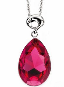 Fuchsia drop pendant with fancy bale crystal drop