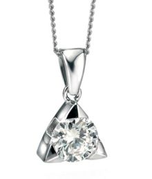 Small triangle pendant with cz