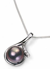 Elements Silver Peacock pearl pendant with cz