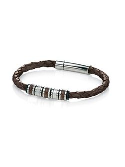 Fred Bennett Leather bracelet with Stainless Steel