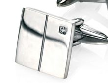 Square cufflinks with cubic zirconia