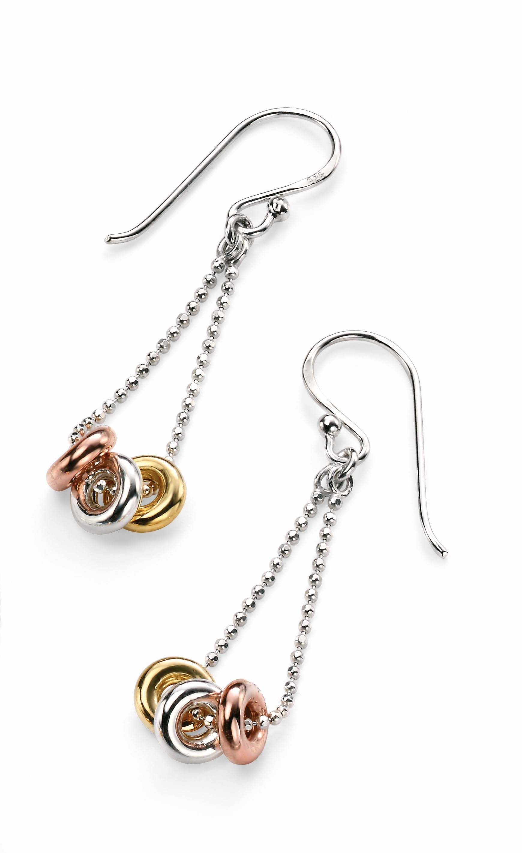 Triple ring drop earring with gold & rose gold pl