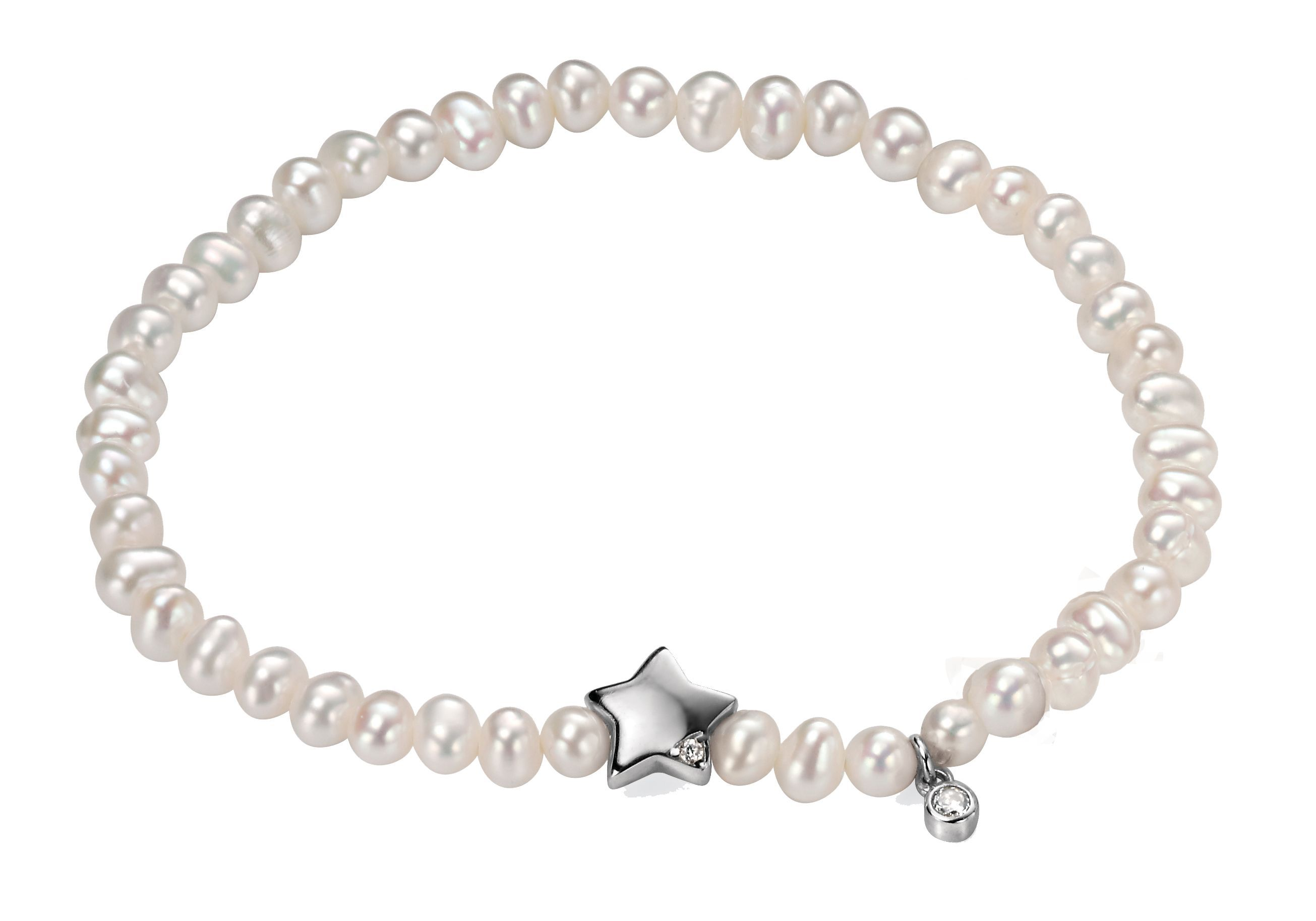 While pearl stretch bracelet with clear cz star c