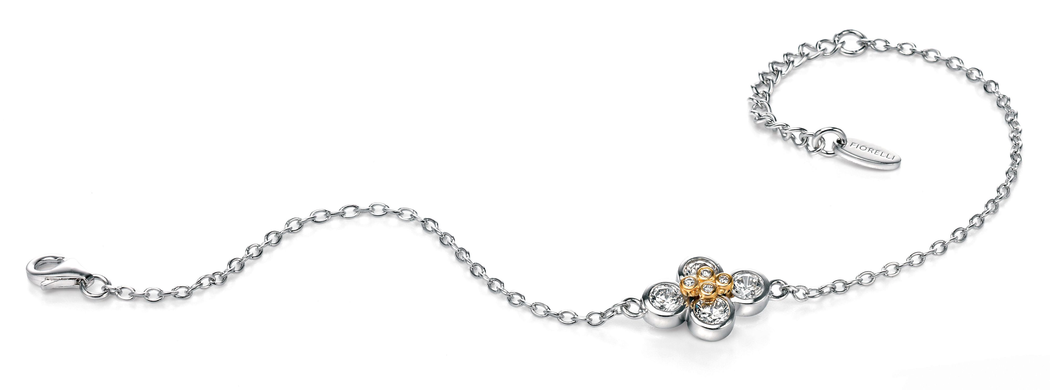 Small cz bracelet with gold plated detail