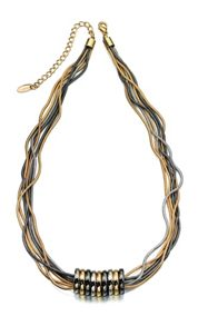 3 colour snake chain and ring necklace