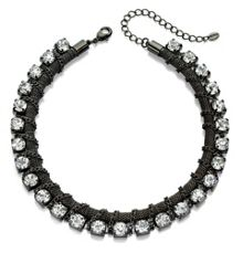 Gun metal chain and crystal necklace