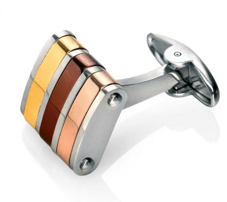 Fred Bennett Gold, brown and rose cufflinks