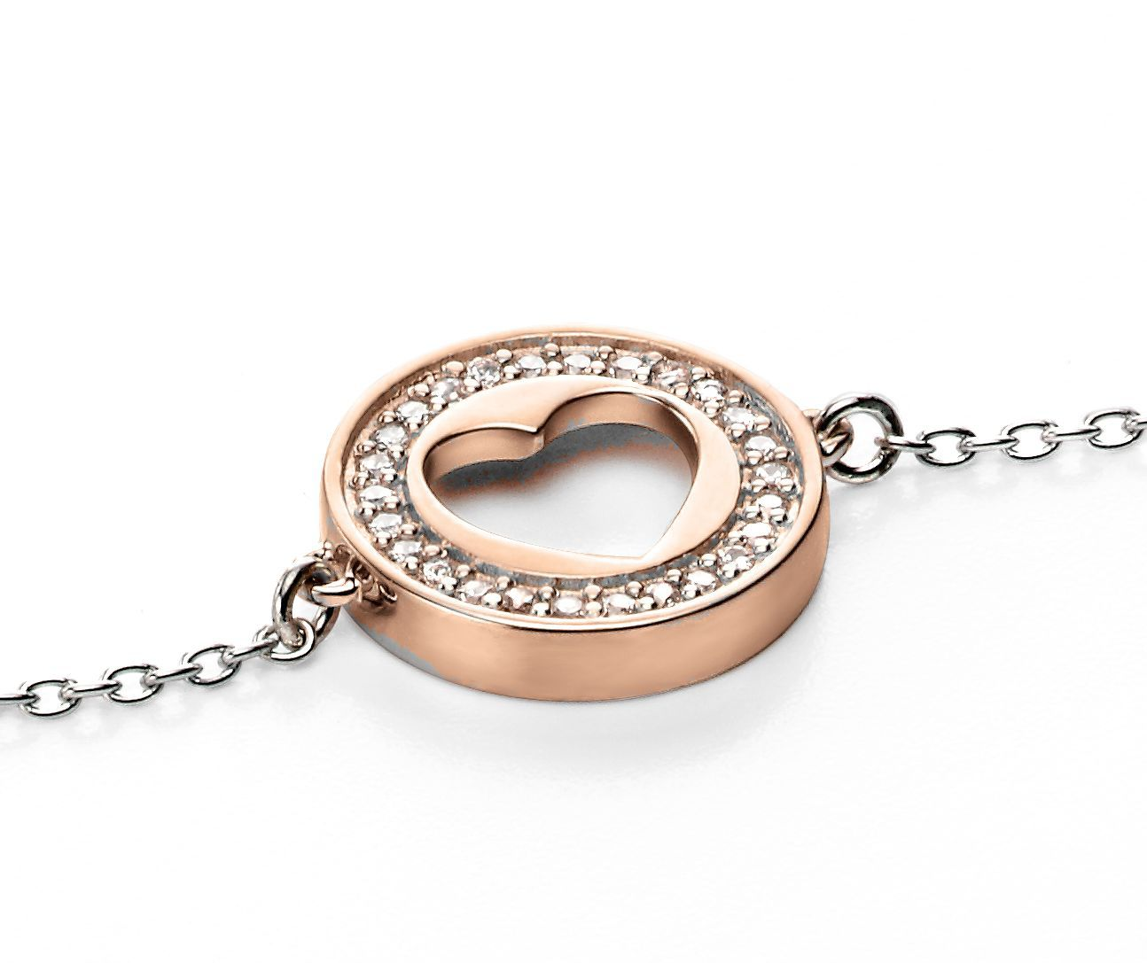 Silver bracelet with rose gold cutout heart