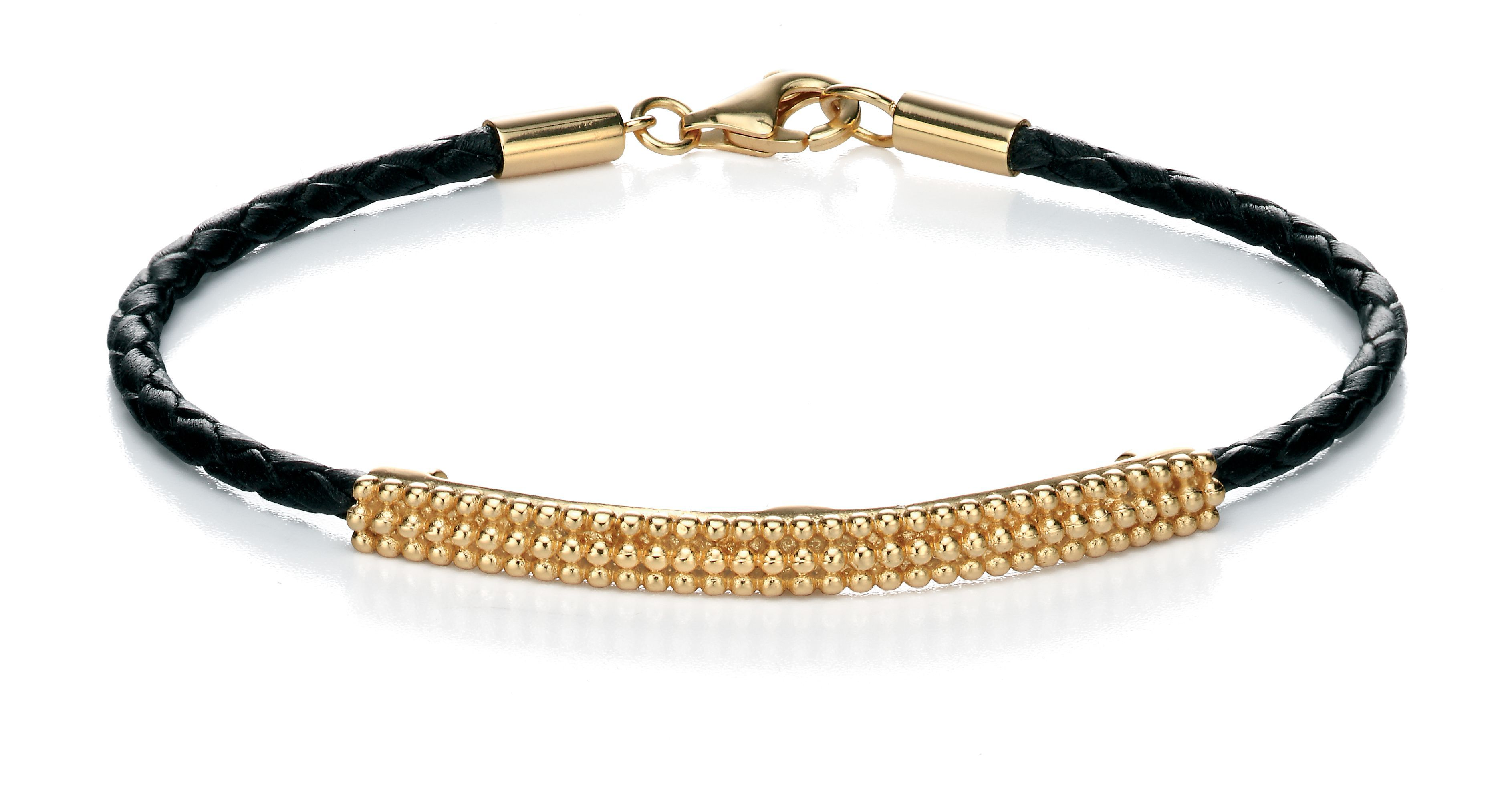 Yellow gold plate id leather bracelet