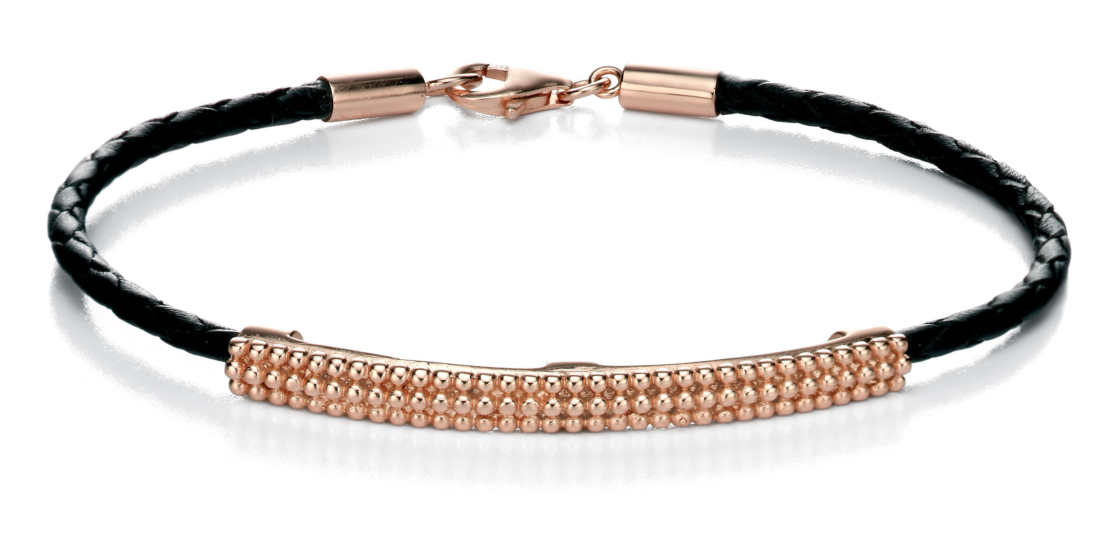 Rose gold plate id leather bracelet