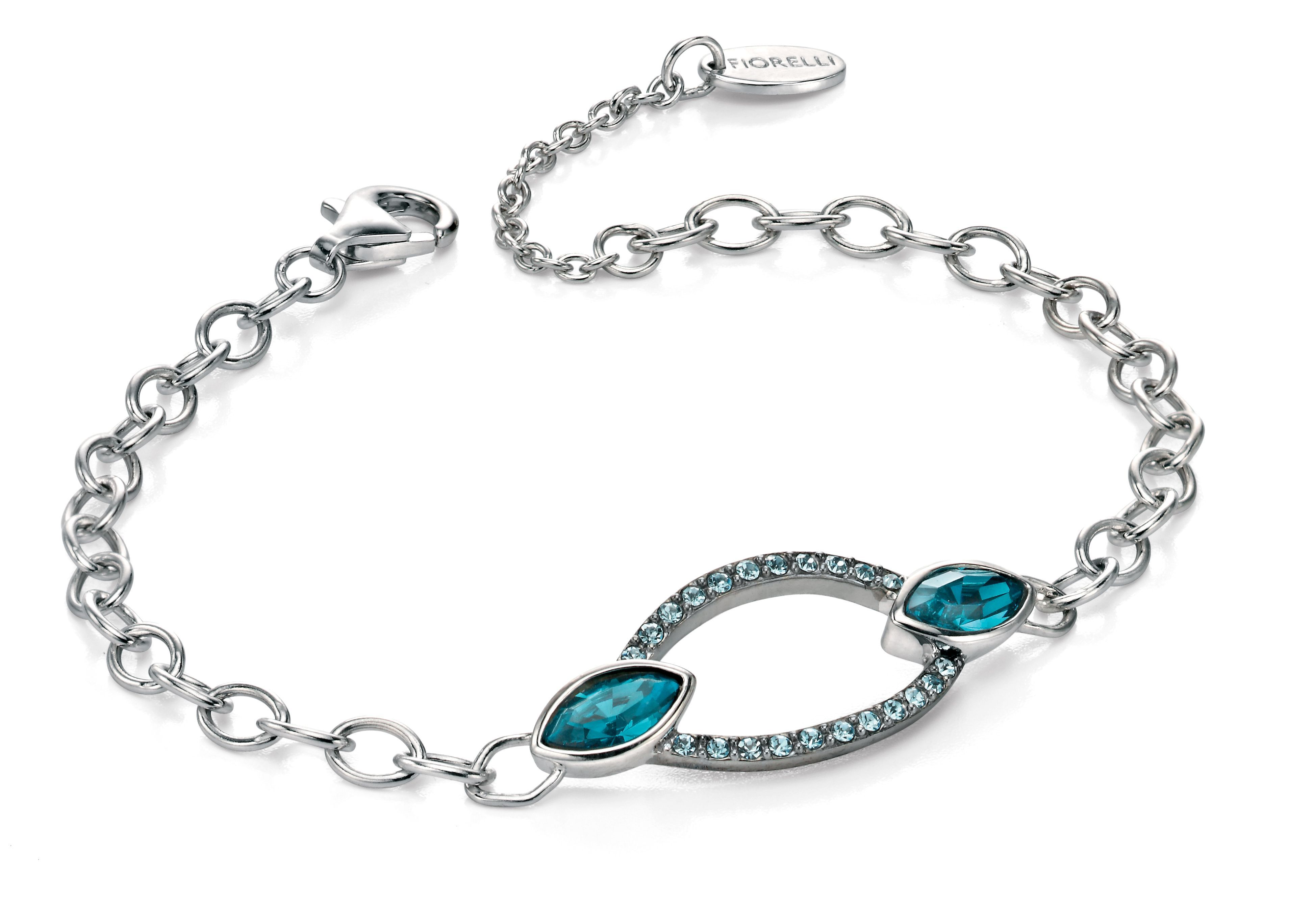 Silver and blue marquise crystal bracelet