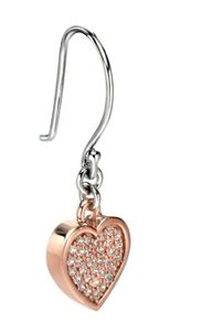 Silver and rose gold heart earrings with pave cz