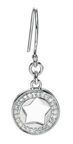 Silver cut out star earrings with cz pave setting