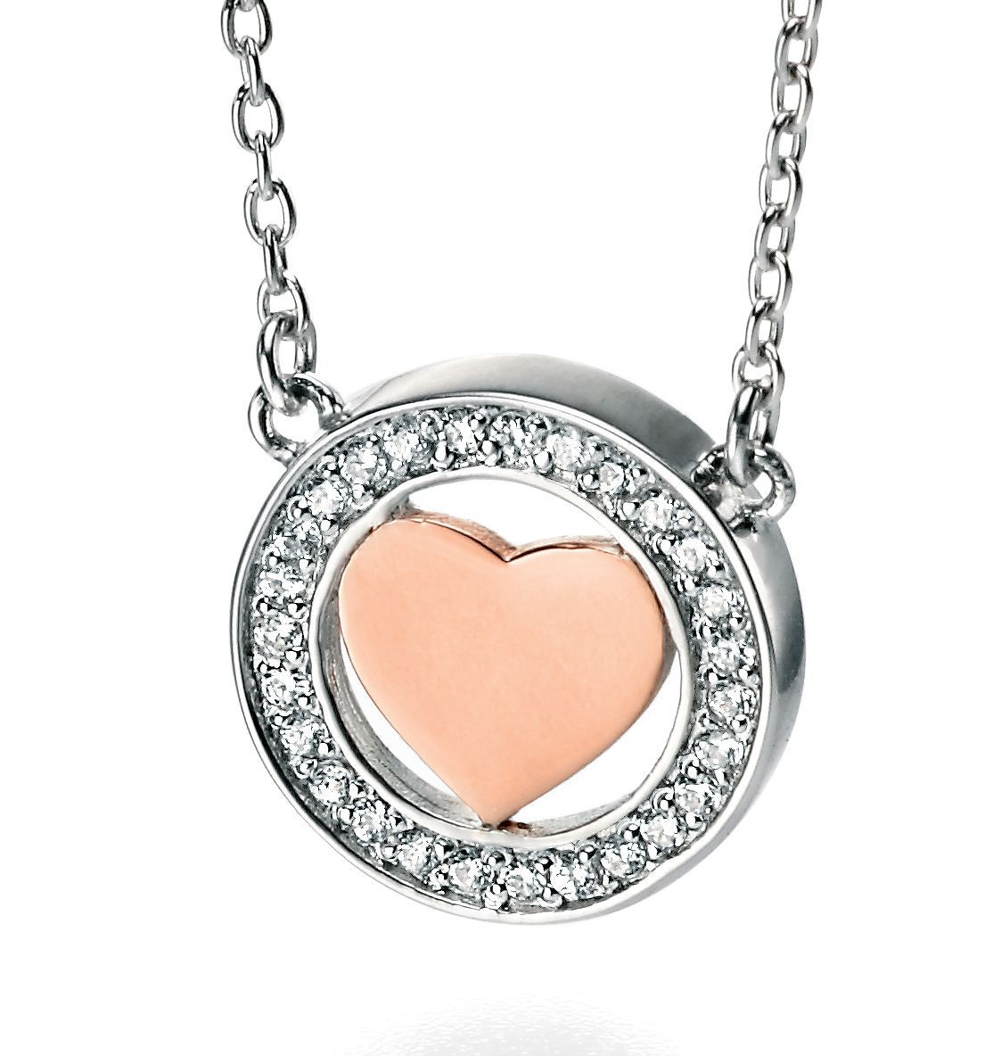 Silver necklace with rose gold heart in cz pave s