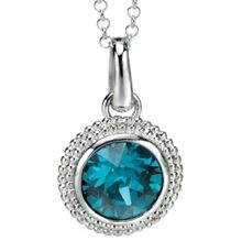 Silver pendant with round indicolite crystal
