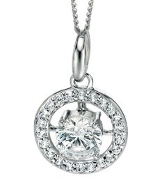 Silver round cz pendant with pave surround