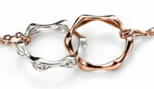 Link rose gold plated and silver disc double stra