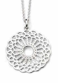 Disc pendant with cut-out geometric pattern