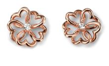 Rose gold plated flowers earring with cz