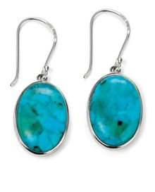 Stabilised turquoise oval earring