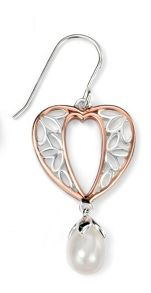 Rose gold plated heart flower with pearl drop ear