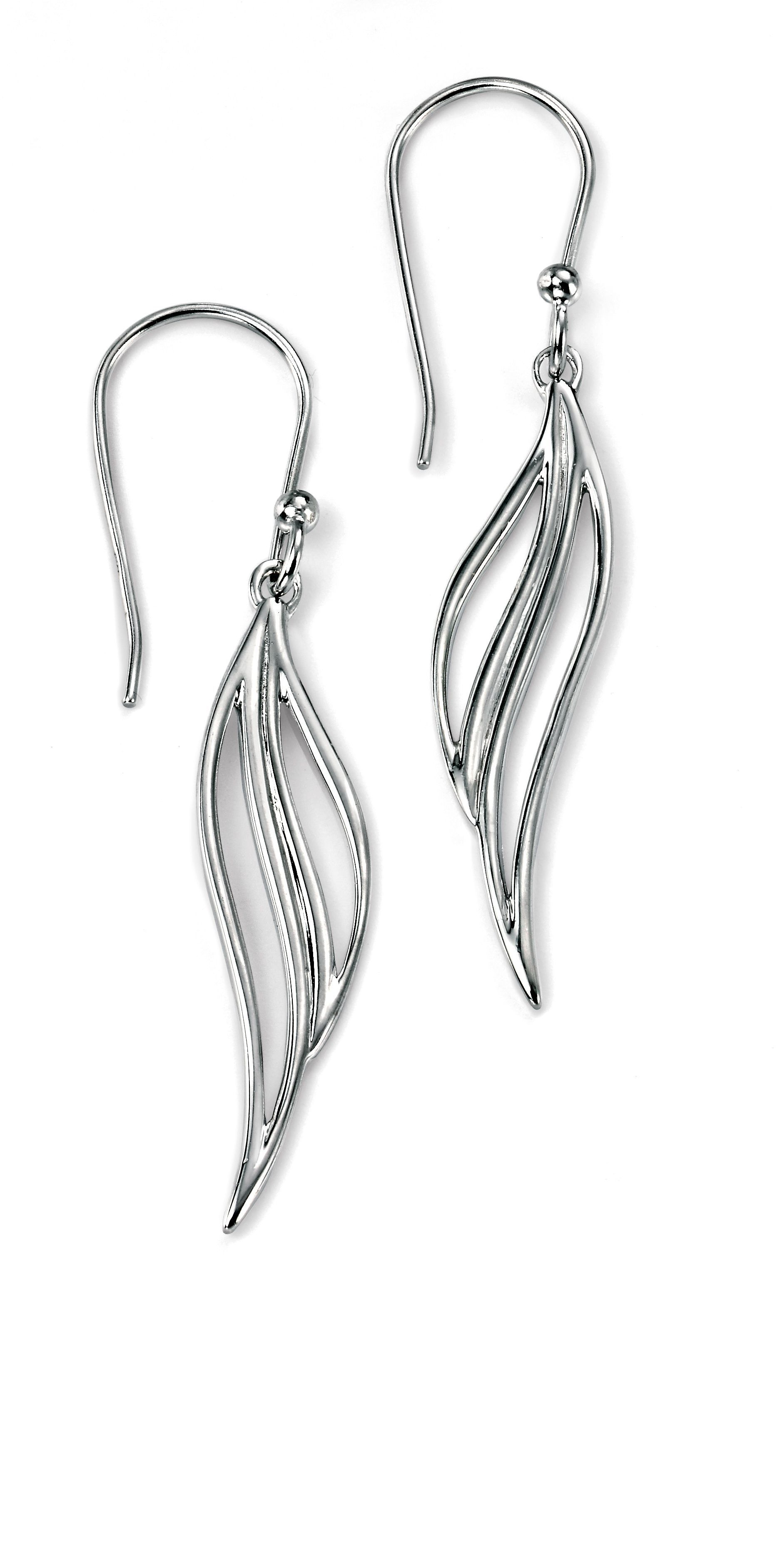 Open leaf drop earring with rhodium plating