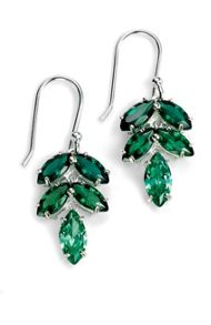 Green cz leaf earring