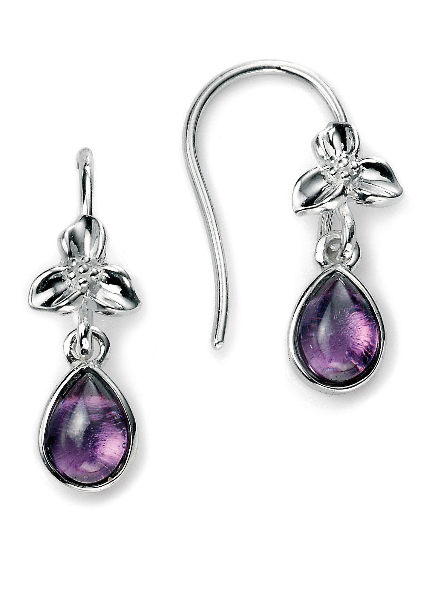 Flower and amethyst cz drop earring