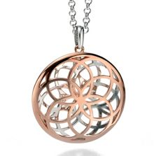 Silver and rose gold cut-out geometric large disc