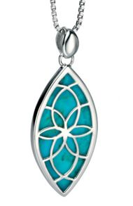 Cut-out geometric pendant with turquoise inlay