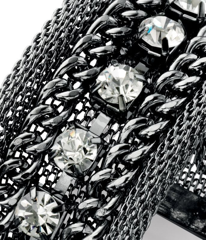 Mesh and links crystal cuff