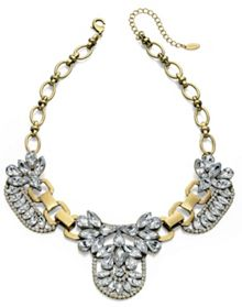 Gold plated bib crystal necklace