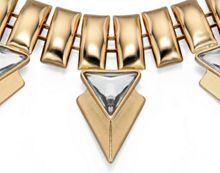 Gold plated necklace with pyramid crystals