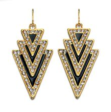 Art deco gold & navy triangle earrings