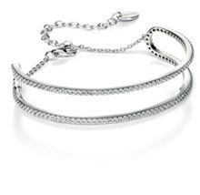 Fiorelli Silver Cubic zirconia pave edge bangle
