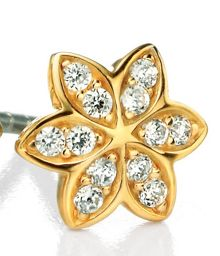 Gold plated pave flower stud earrings
