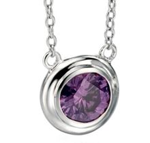Round purple cubic zirconia necklace