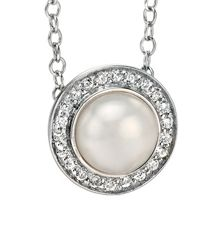 Fiorelli Silver Simple pearl pave cluster necklace