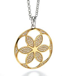 Gold plated patterened pave pendant