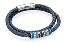 Blue and Grey Double Wrapped Leather